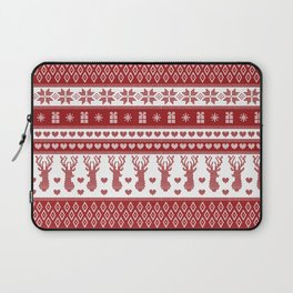Nordic fair isle christmas pattern red Laptop Sleeve