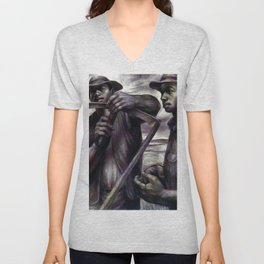 African American Masterpiece 'The Revolt (the harvest) by C. White Unisex V-Neck