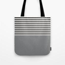 Gray Half Striped Tote Bag