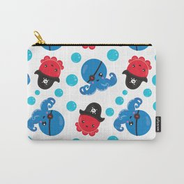 Pattern Of Pirate Octopuses, Sea Life - Red Blue Carry-All Pouch