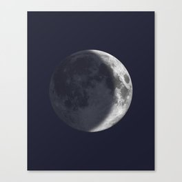 Waxing Crescent Moon on Navy Canvas Print
