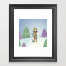 Girl and Dog in Snow Framed Art Print