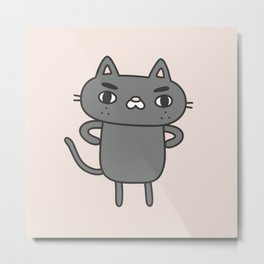 Cranky Cat Metal Print