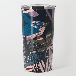 purple palm leaves Travel Mug