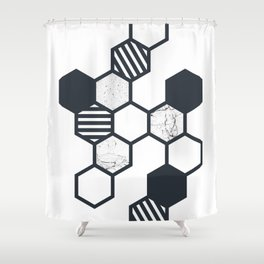 Marble Hex White Shower Curtain