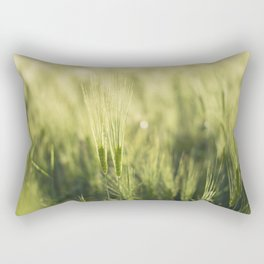 Green Barley Hay Growing on Summer Field Rectangular Pillow