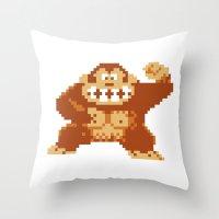 donkey kong Throw Pillows featuring Donkey Kong Bits by adovemore