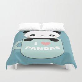 Kawaii I Love Pandas Duvet Cover