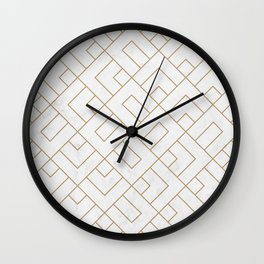 Golden Marble Square Floor Pattern Wall Clock