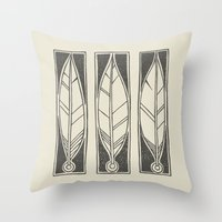 ethnic Throw Pillows featuring Ethnic Feathers by rob art   simple