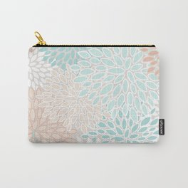 Floral Prints, Soft, Peach and Teal, Modern Print Art Carry-All Pouch