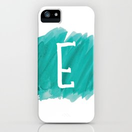 Letter E Teal Watercolor iPhone Case