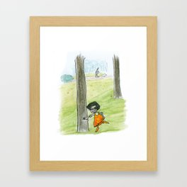 The little girlg in orange. Dancing with a tree. Framed Art Print