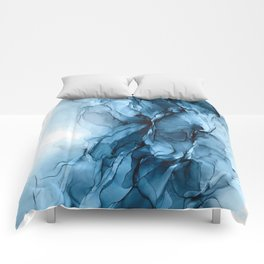 Deep Blue Flowing Water Abstract Painting Comforters