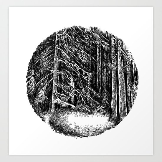 Wall of forest Art Print