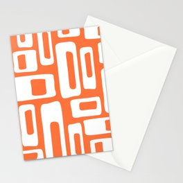 Retro Mid Century Modern Abstract Pattern 335 Orange Stationery Cards