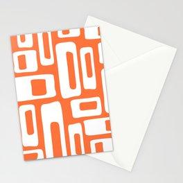 Retro Mid Century Modern Abstract Pattern 335 Orange Stationery Cards