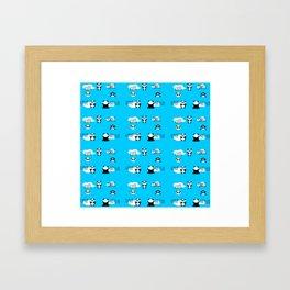 Pattern Blue Panda Framed Art Print