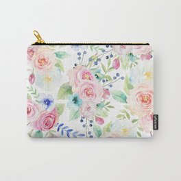 Blush pink watercolor elegant roses floral Carry-All Pouch