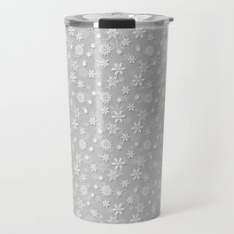 Festive Silver Grey and White Christmas Holiday Snowflakes Travel Mug