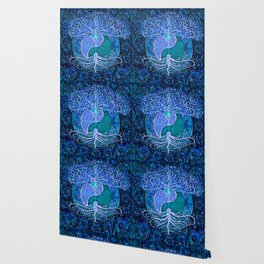 Tree of Life Yin Yang Blue Wallpaper