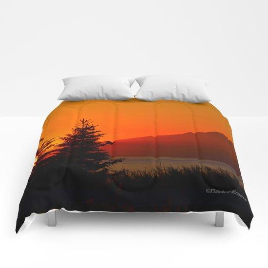 Orange Sky - Mt. Redoubt Comforters