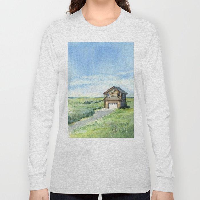 Beach House Landscape Watercolor   Long Beach, WA Long Sleeve T-shirt