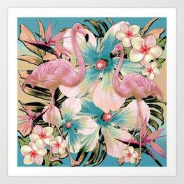 Vintage Flamingo Aloha Art Print