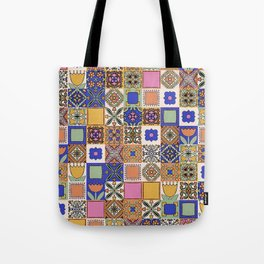 Hand Drawn Floral Patchwork Tote Bag