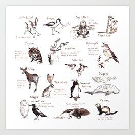 Calendar Animals Art Print