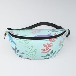 Watercolor Floral & Fox Fanny Pack
