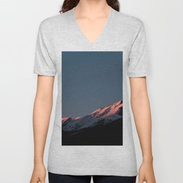 AERIAL PHOTOGRAPHY OF MOUNTAIN AT DAYTIME Unisex V-Neck
