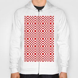 Square and tartan 1- red Hoody