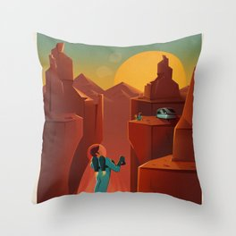 Vintage SpaceX Valles Marineris Mars Travel Throw Pillow