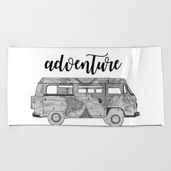 adventure awaits world map design Beach Towel