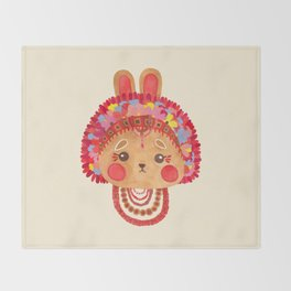 The Flower Crown Bunny Throw Blanket