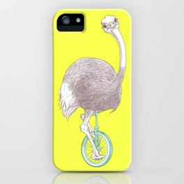 Ostrich on Monocycle iPhone Case