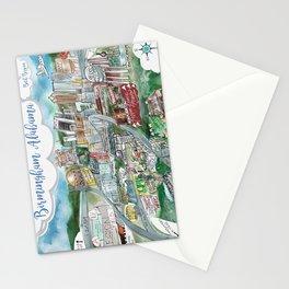 Cartoon Map of Birmingham, Alabama Landmarks Stationery Cards
