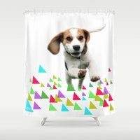 beagle Shower Curtains featuring Happy Beagle by MinnaEleonoora