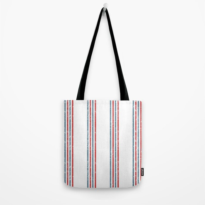 Maritime Beach Pattern- Red and Blue Stripes on White- Vertical #Society6 Tote Bag