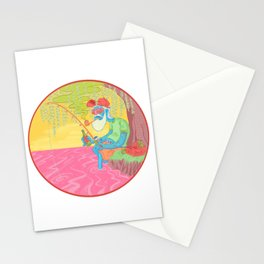 fisherman by the river Stationery Cards