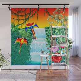 Waterfall Macaws and Butterflies on Exotic Landscape in the Jungle Naif Style Wall Mural