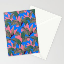 Retro Luxe Lilies Electric Blue Pattern Stationery Cards