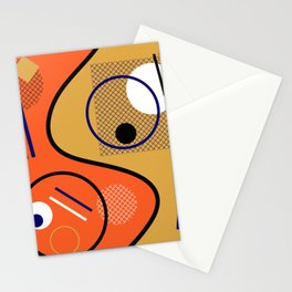 Opposing Sides - Abstract, orange and mustard, geometric, contrasting design Stationery Cards