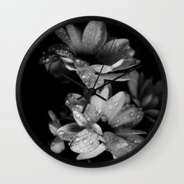 Flower and drops. Black and white. Wall Clock