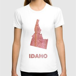 Idaho map outline Crimson red nebulous wash drawing T-shirt