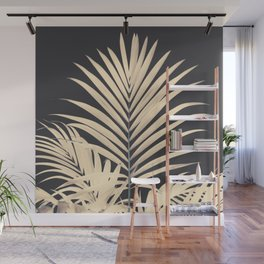 Inverted Vision | White sepia palm tree leaf photography on grey black Wall Mural