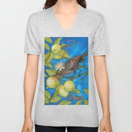 Fruits and Fantasy: Guava/Blackbird Unisex V-Neck