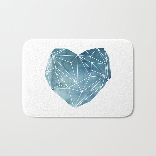 Heart Graphic Watercolor Blue Bath Mat