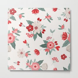 Valentine Flowers Red Pink Cream Metal Print
